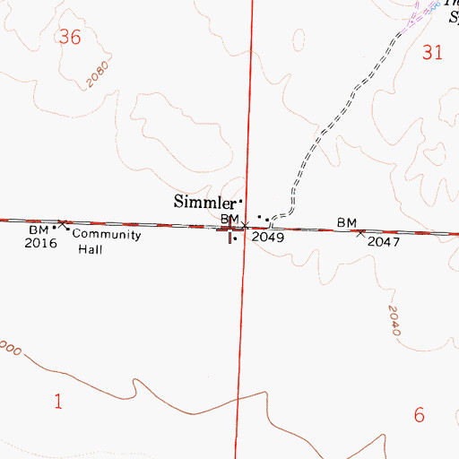 Topographic Map of Simmler, CA