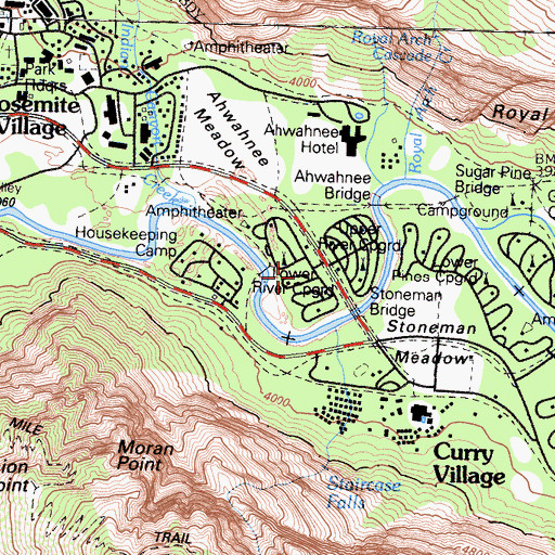 Topographic Map of Lower River Campground, CA