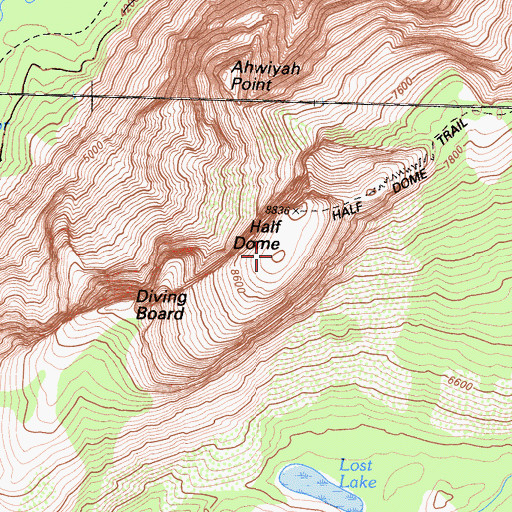 Topographic Map of Half Dome, CA
