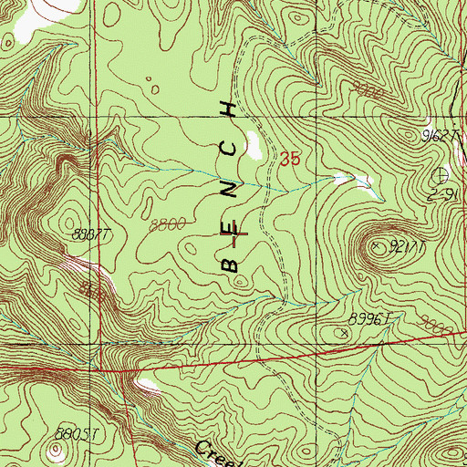 Topographic Map of Hulsey Bench, AZ