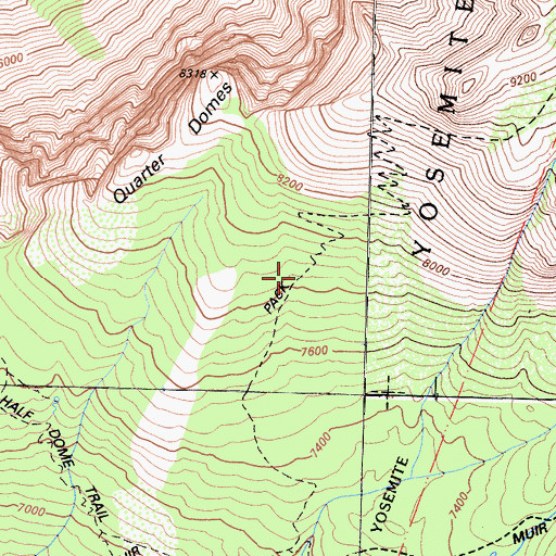 Topographic Map of Clouds Rest Trail, CA
