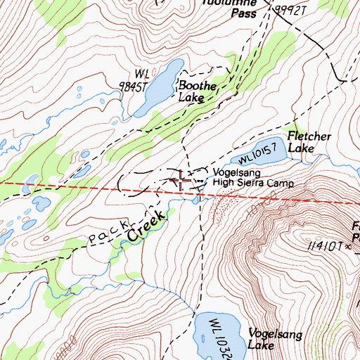 Topographic Map of Vogelsang High Sierra Camp, CA