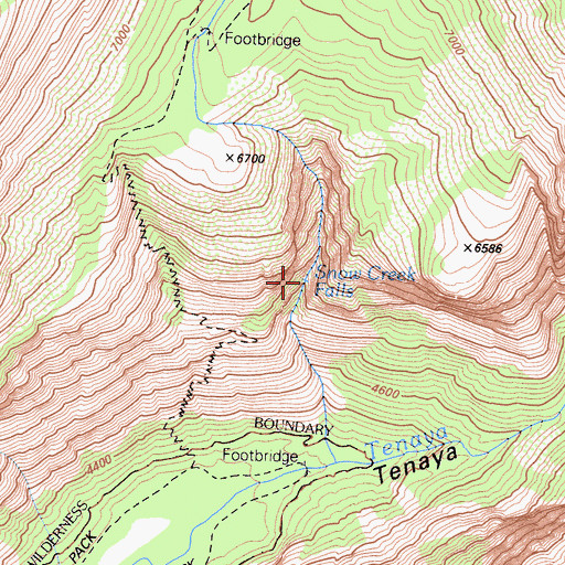 Topographic Map of Snow Creek Falls, CA
