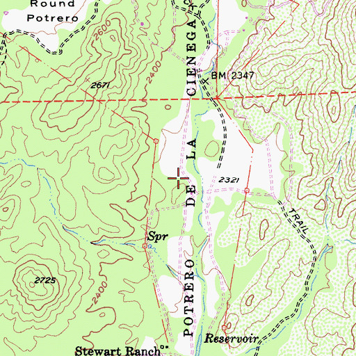 Topographic Map of Potrero de Los Cienega, CA