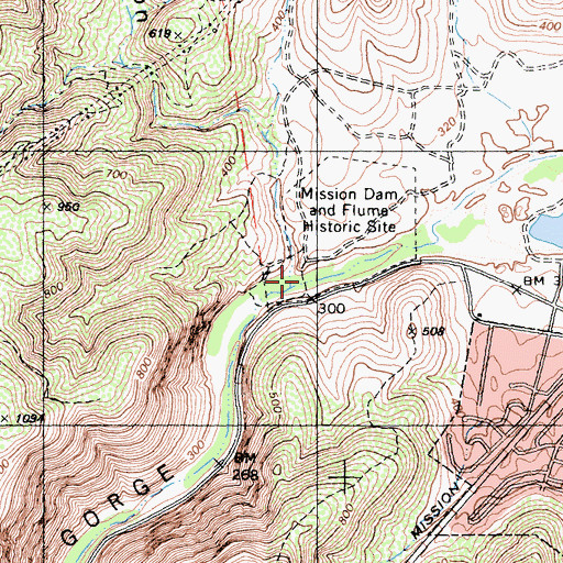 Topographic Map of Old Mission Dam, CA