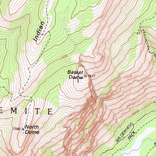 Topographic Map of Basket Dome, CA