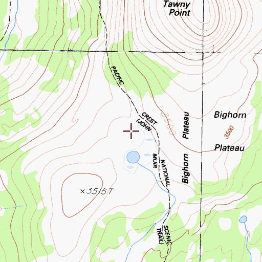 Topographic Map of Bighorn Plateau, CA