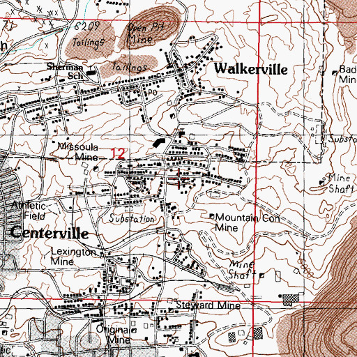 Topographic Map of Centerville Volunteer Fire Department, MT