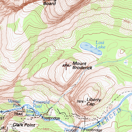 Topographic Map of Mount Broderick, CA