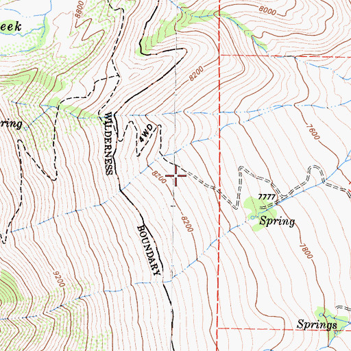 Topographic Map of Horton Lakes Trailhead, CA
