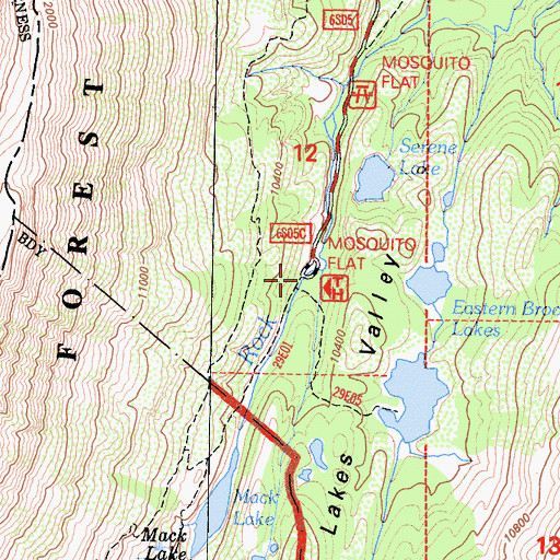 Topographic Map of Mono Pass Trailhead, CA