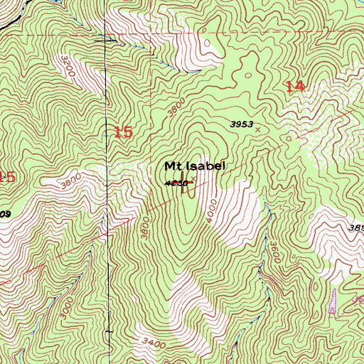 Topographic Map of Mount Isabel, CA