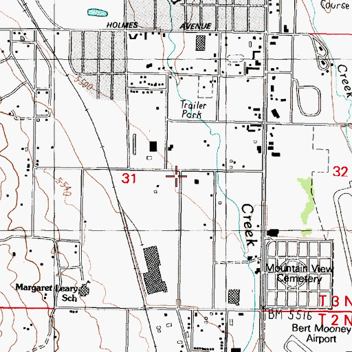 Topographic Map of Beaverhead - Deerlodge National Forest Butte Ranger District Office, MT