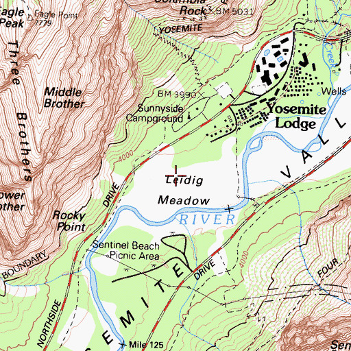 Topographic Map of Leidig Meadow, CA