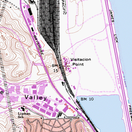 Topographic Map of Visitacion Point, CA