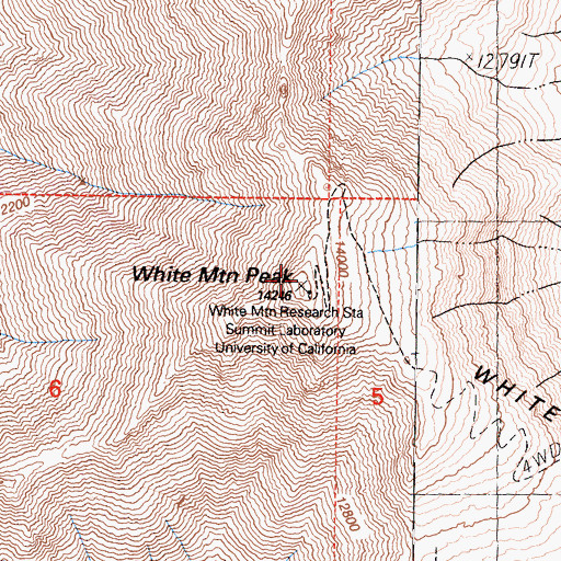 Topographic Map of White Mountain Peak, CA