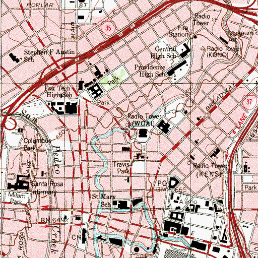 Topographic Map of San Antonio Arson Investigation, TX