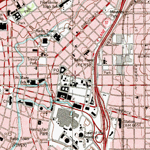 Topographic Map of San Antonio Fire Department Station 1, TX