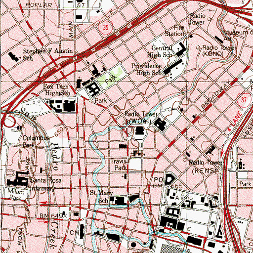 Topographic Map of San Antonio Fire Department and Ambulance Service, TX