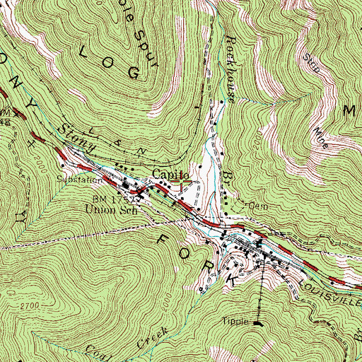 Topographic Map of Capito Railroad Station (historical), KY