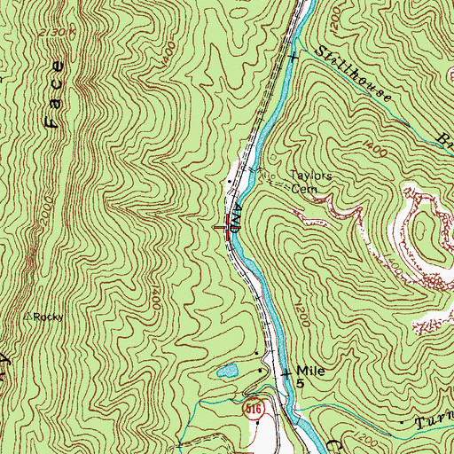 Topographic Map of Cross Railroad Station (historical), KY