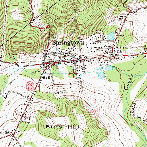 Topographic Map of Eileen Run, PA