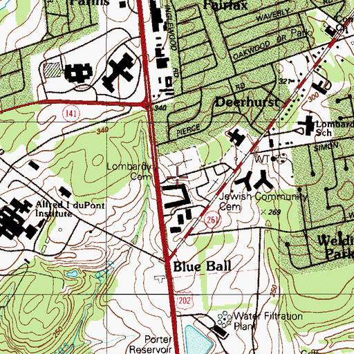 Topographic Map of Lombardy Hall, DE
