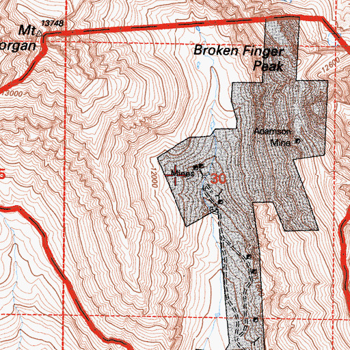 Topographic Map of Adamson Mine, CA