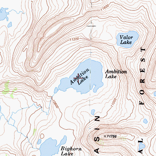 Topographic Map of Ambition Lake, CA