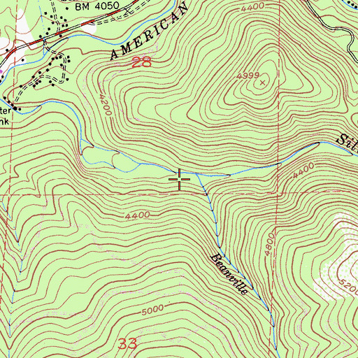 Topographic Map of Beanville Creek, CA