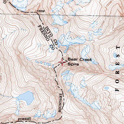 Topographic Map of Bear Creek Spire, CA