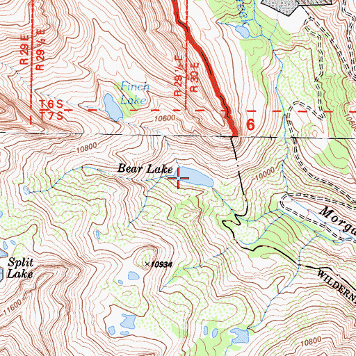 Topographic Map of Bear Lake, CA