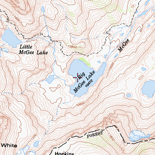 Topographic Map of Big McGee Lake, CA