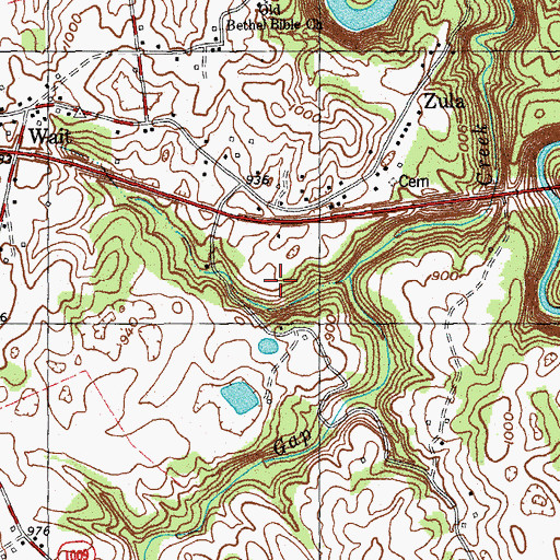 Topographic Map of Bone Cave, KY
