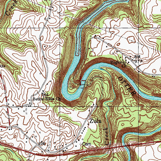 Topographic Map of Zula Mill (historical), KY