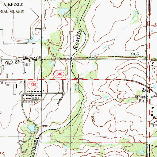 Topographic Map of Calf Hill Creek (historical), TX