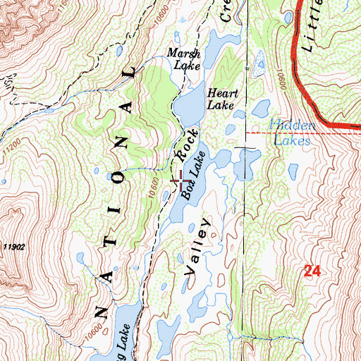 Topographic Map of Box Lake, CA