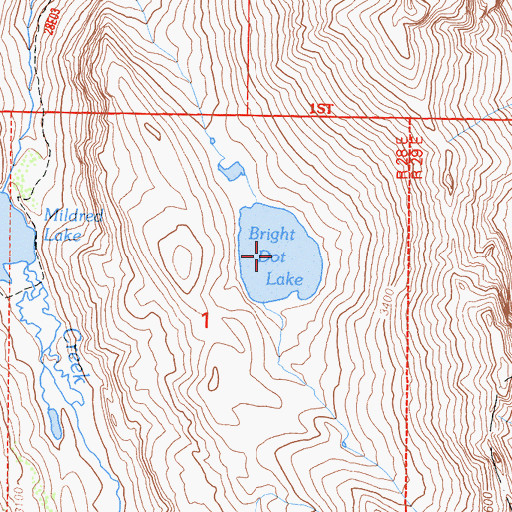 Topographic Map of Bright Dot Lake, CA