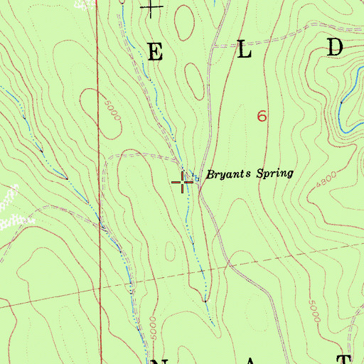 Topographic Map of Bryants Spring, CA