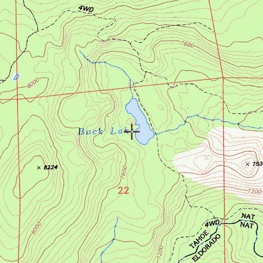 Topographic Map of Buck Lake, CA