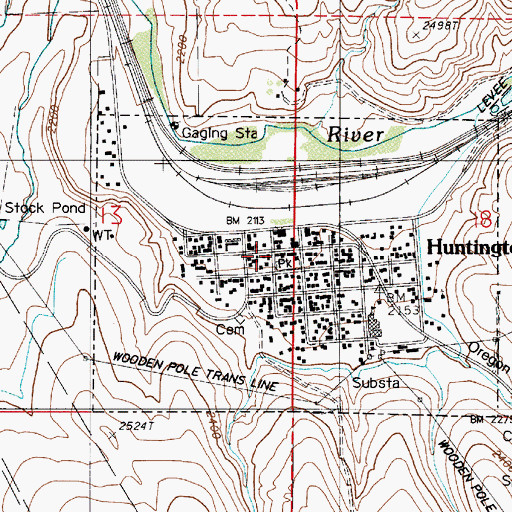 Topographic Map of Huntington Volunteer Fire Department, OR
