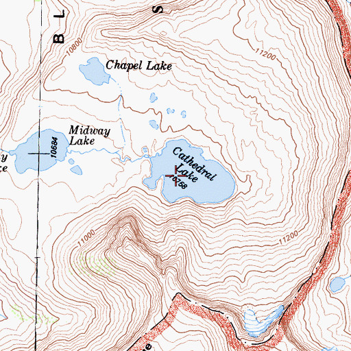 Topographic Map of Cathedral Lake, CA