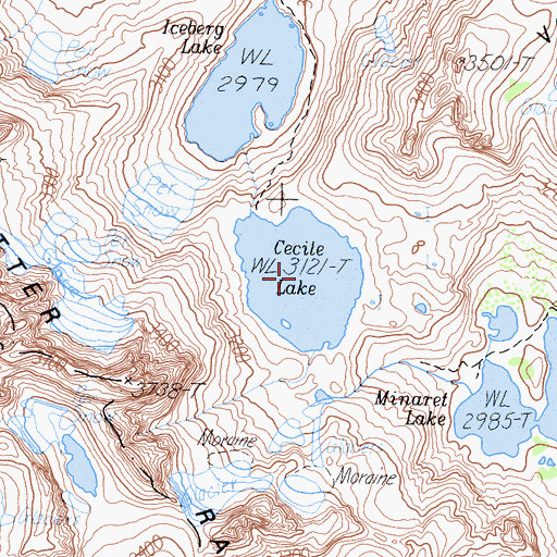 Topographic Map of Cecile Lake, CA