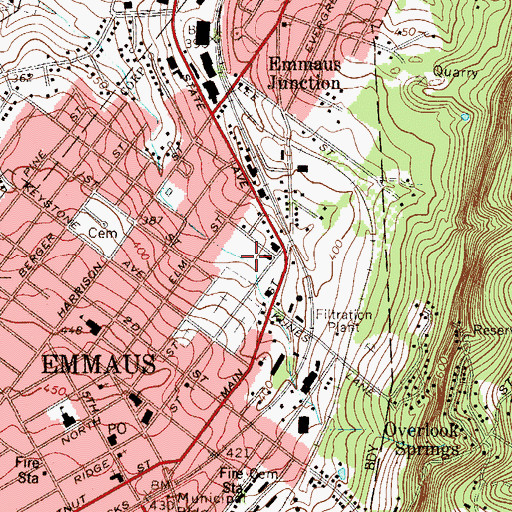 Topographic Map of Rodale Run, PA