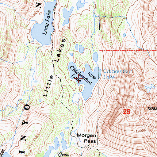 Topographic Map of Chickenfoot Lake, CA