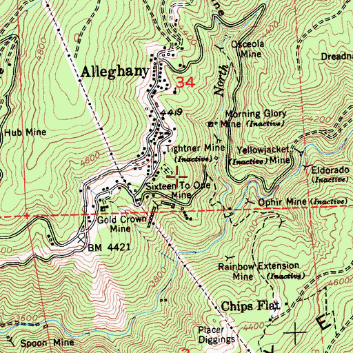 Topographic Map of Alleghany Census Designated Place, CA