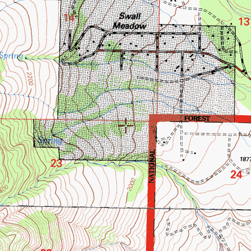 Topographic Map of Swall Meadows Census Designated Place, CA