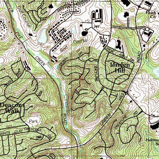 Topographic Map of Pike Creek Valley Census Designated Place, DE