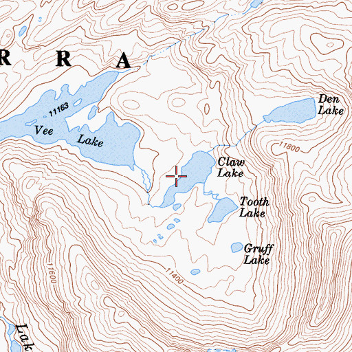 Topographic Map of Claw Lake, CA