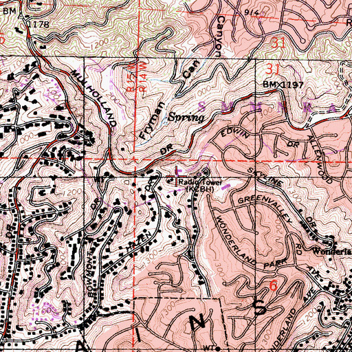 Topographic Map of Briarcrest Peak, CA